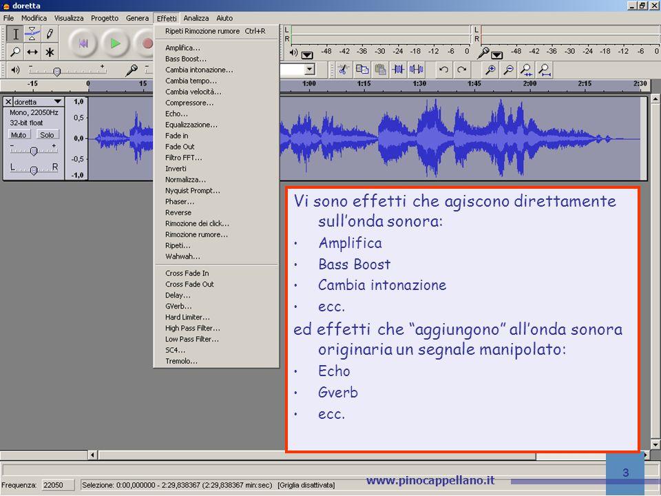 Editor audio Vi sono effetti che agiscono direttamente sull'onda sonora: Amplifica. Bass Boost. Cambia intonazione.