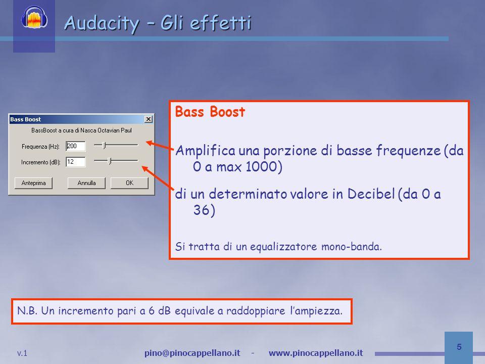 Audacity – Gli effetti Bass Boost