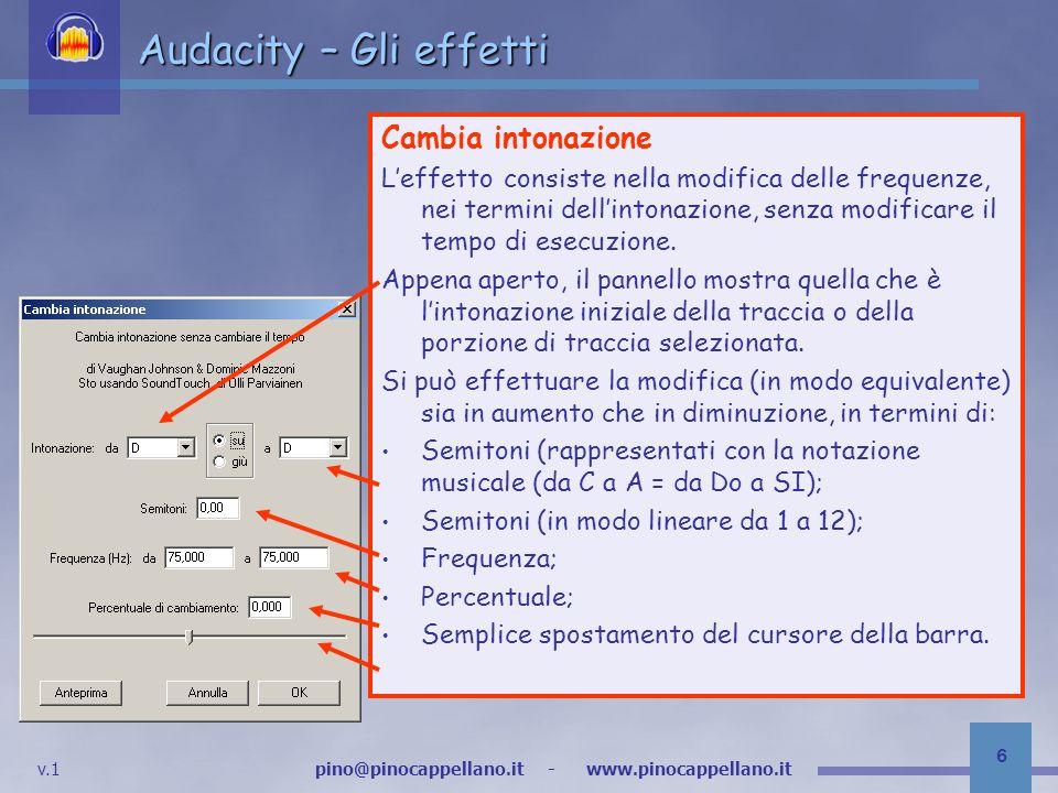 Audacity – Gli effetti Cambia intonazione