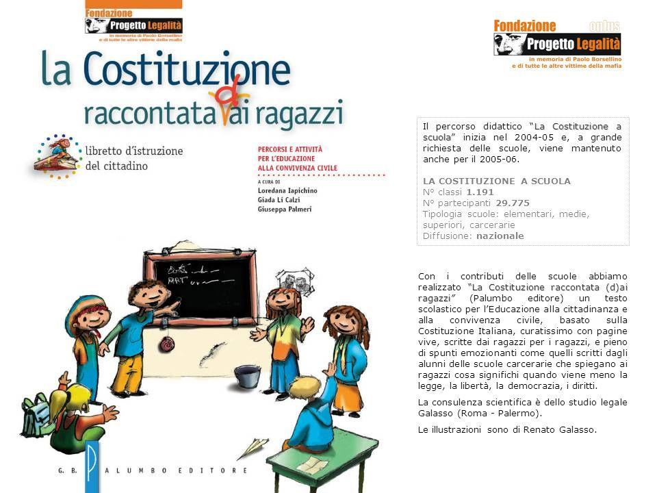 Il percorso didattico La Costituzione a scuola inizia nel 2004-05 e, a grande richiesta delle scuole, viene mantenuto anche per il 2005-06.
