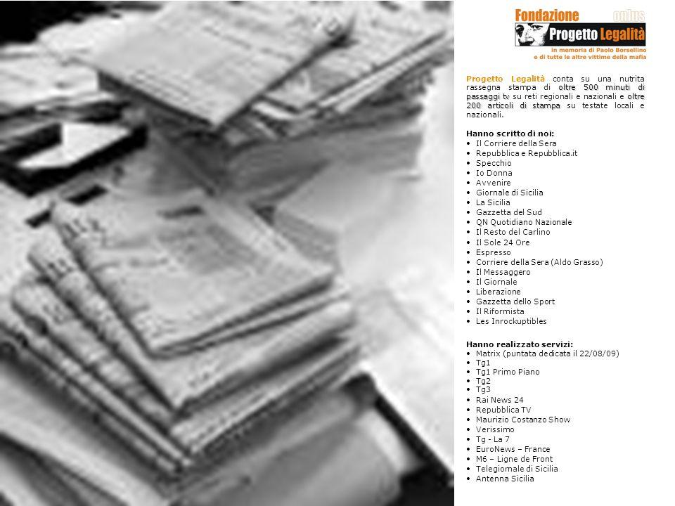 Progetto Legalità conta su una nutrita rassegna stampa di oltre 500 minuti di passaggi tv su reti regionali e nazionali e oltre 200 articoli di stampa su testate locali e nazionali.