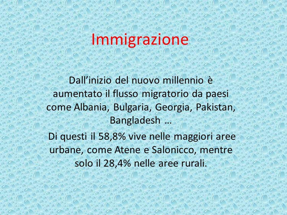 ImmigrazioneDall'inizio del nuovo millennio è aumentato il flusso migratorio da paesi come Albania, Bulgaria, Georgia, Pakistan, Bangladesh …