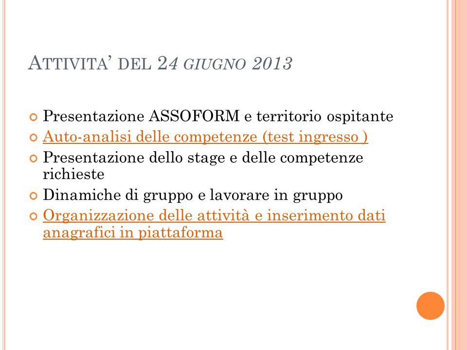Attivita' del 24 giugno 2013 Presentazione ASSOFORM e territorio ospitante. Auto-analisi delle competenze (test ingresso )