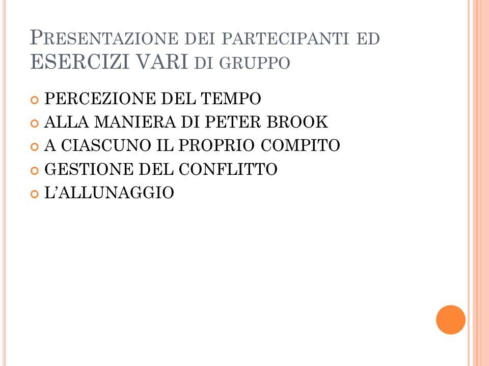 Presentazione dei partecipanti ed ESERCIZI VARI di gruppo