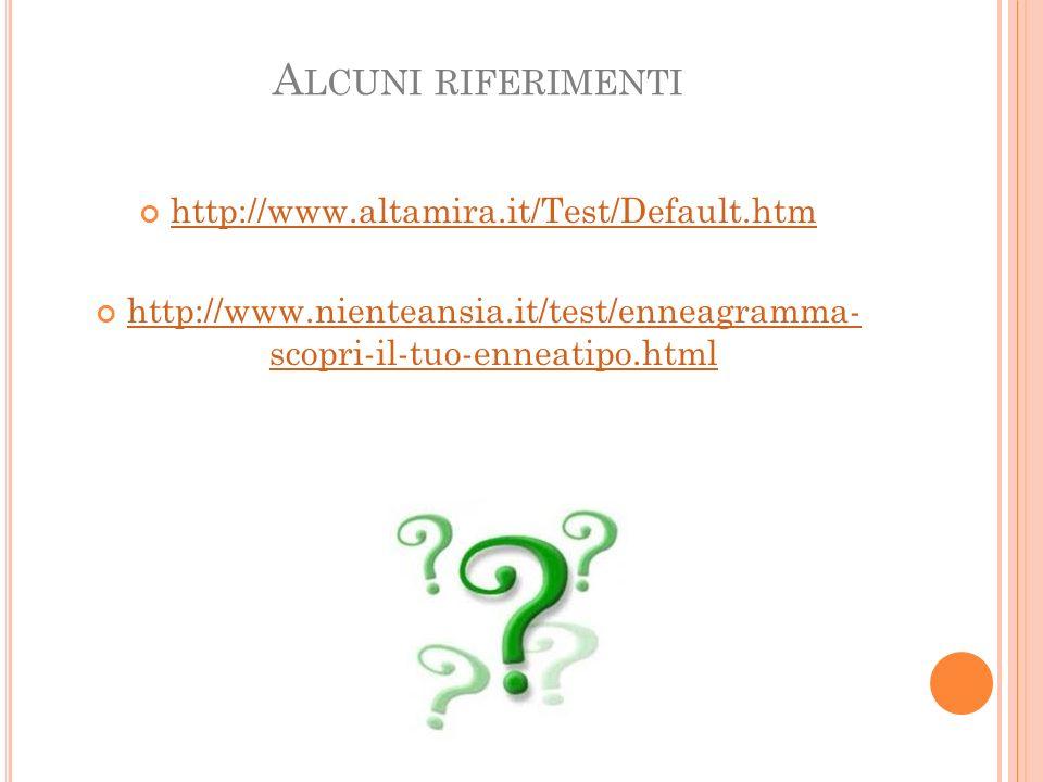 Alcuni riferimenti http://www.altamira.it/Test/Default.htm