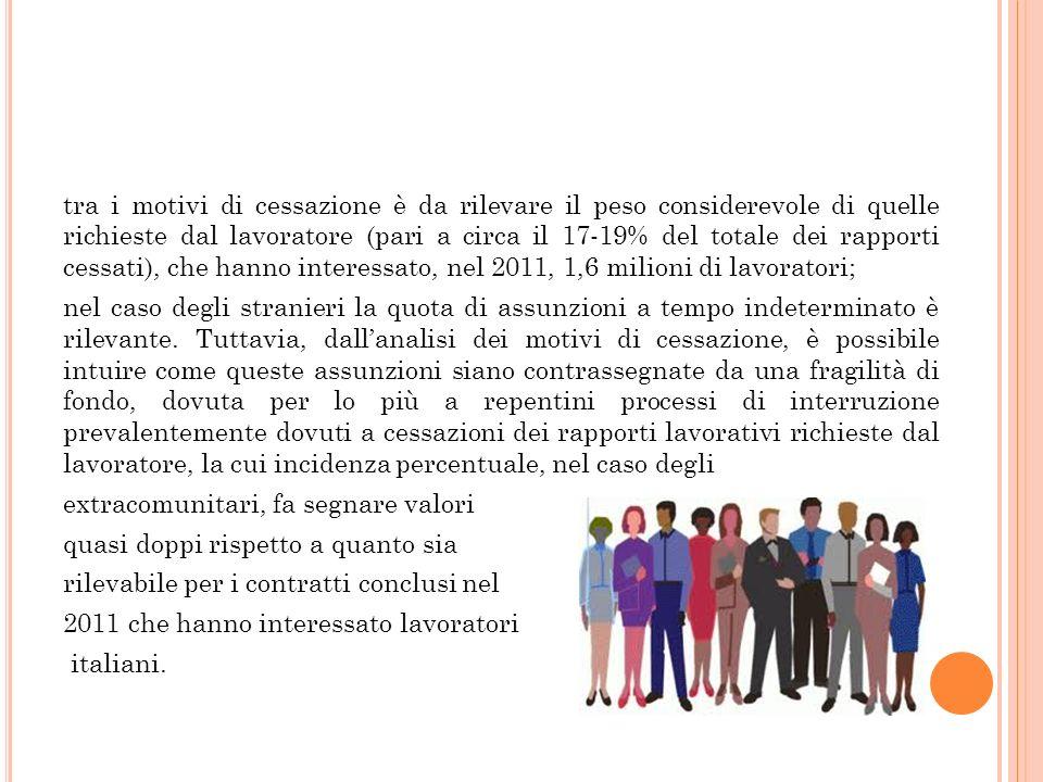 tra i motivi di cessazione è da rilevare il peso considerevole di quelle richieste dal lavoratore (pari a circa il 17-19% del totale dei rapporti cessati), che hanno interessato, nel 2011, 1,6 milioni di lavoratori;