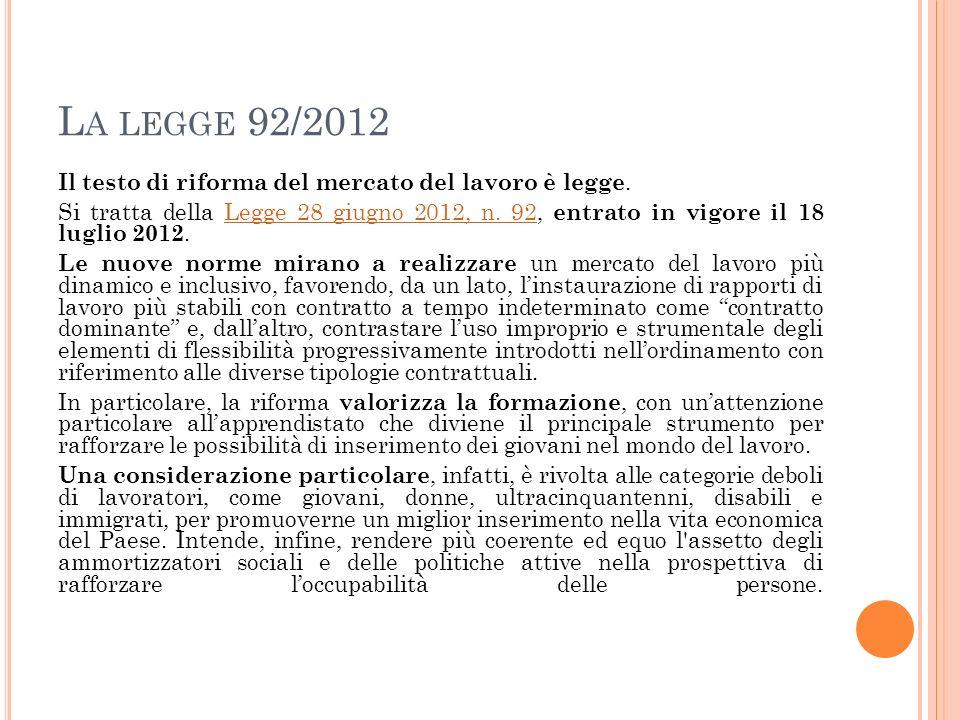 La legge 92/2012