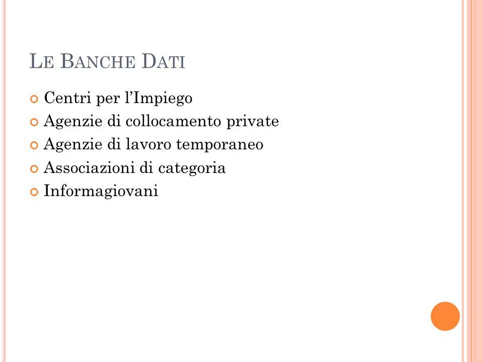 Le Banche Dati Centri per l'Impiego Agenzie di collocamento private