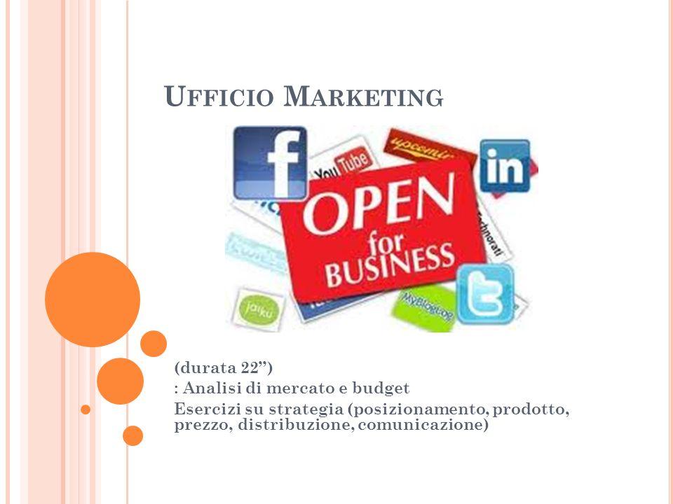 Ufficio Marketing (durata 22'') : Analisi di mercato e budget