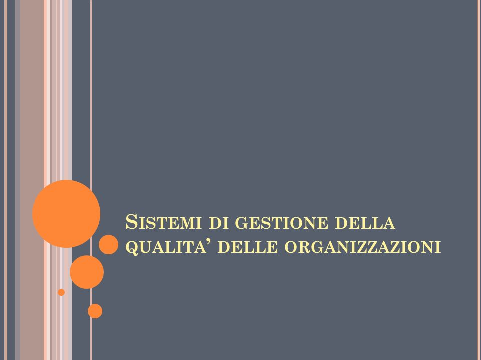 Sistemi di gestione della qualita' delle organizzazioni