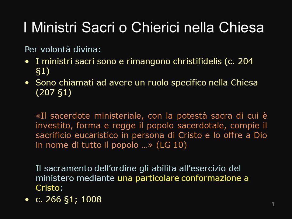 I Ministri Sacri o Chierici nella Chiesa