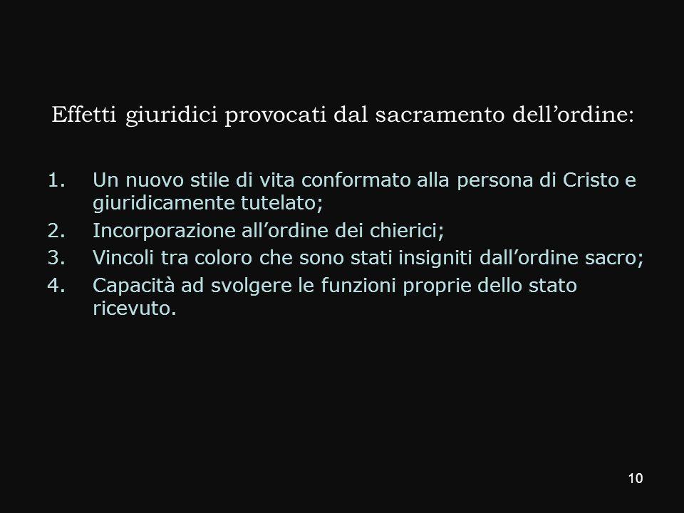 Effetti giuridici provocati dal sacramento dell'ordine: