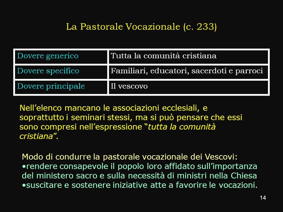 La Pastorale Vocazionale (c. 233)