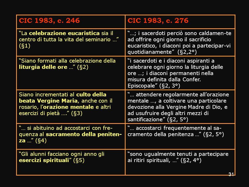CIC 1983, c. 246 CIC 1983, c. 276. La celebrazione eucaristica sia il centro di tutta la vita del seminario … (§1)