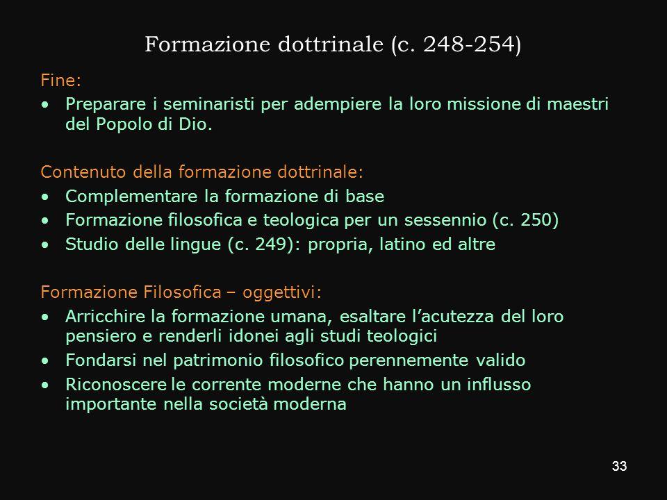 Formazione dottrinale (c. 248-254)