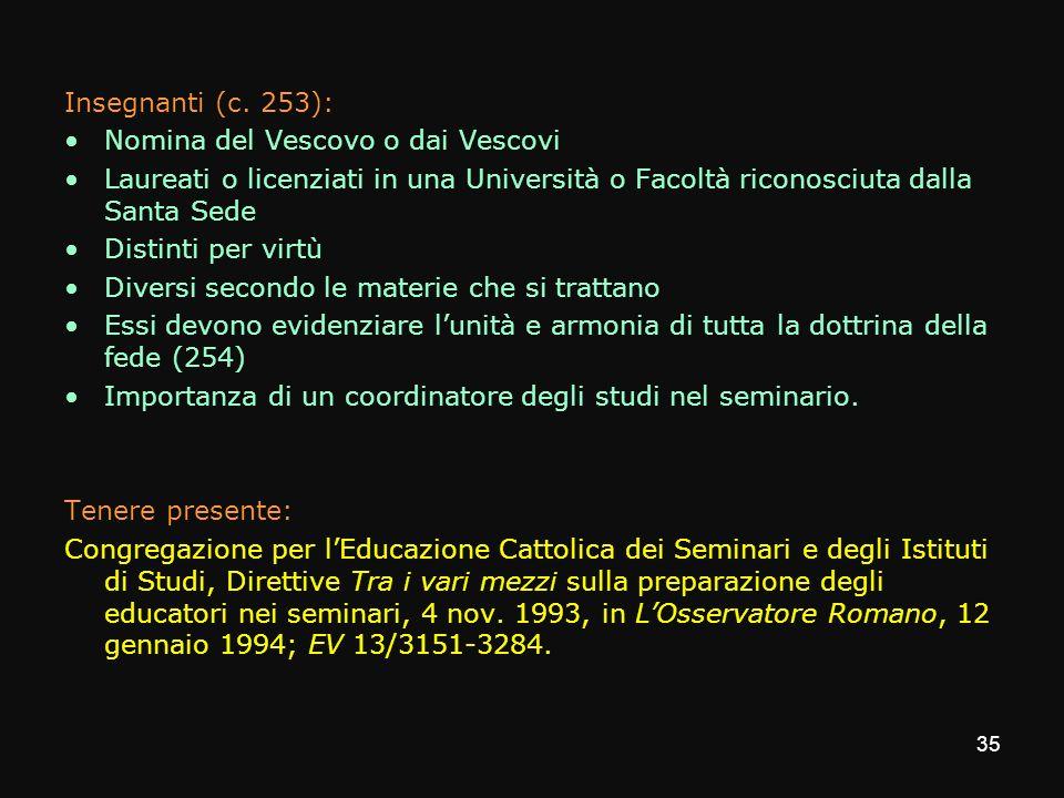Insegnanti (c. 253):Nomina del Vescovo o dai Vescovi. Laureati o licenziati in una Università o Facoltà riconosciuta dalla Santa Sede.