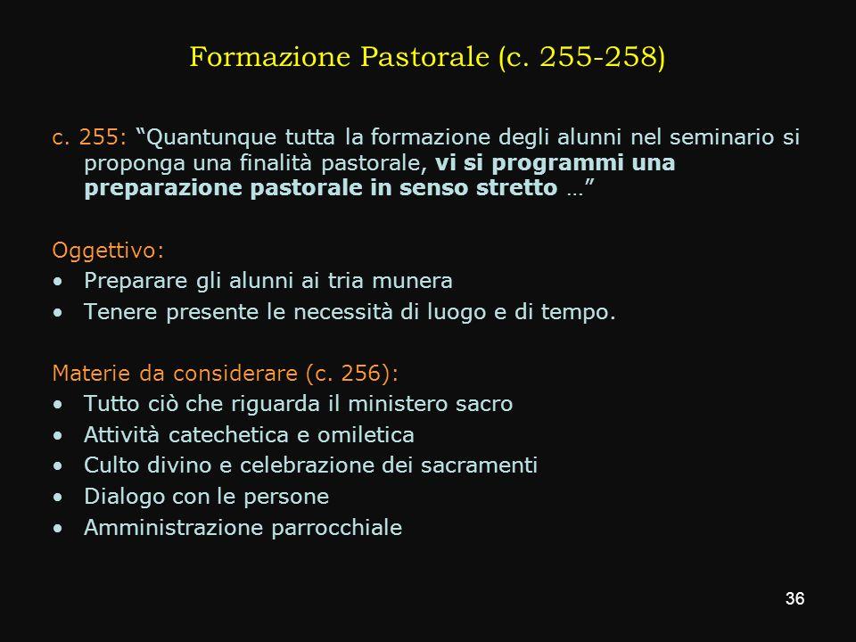 Formazione Pastorale (c. 255-258)