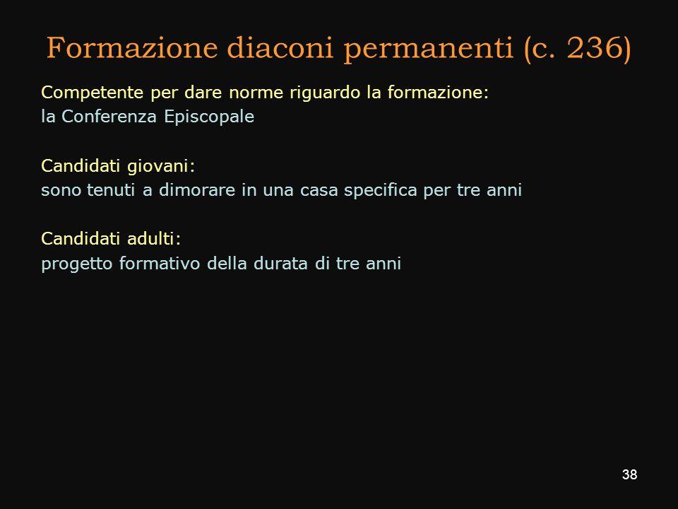 Formazione diaconi permanenti (c. 236)