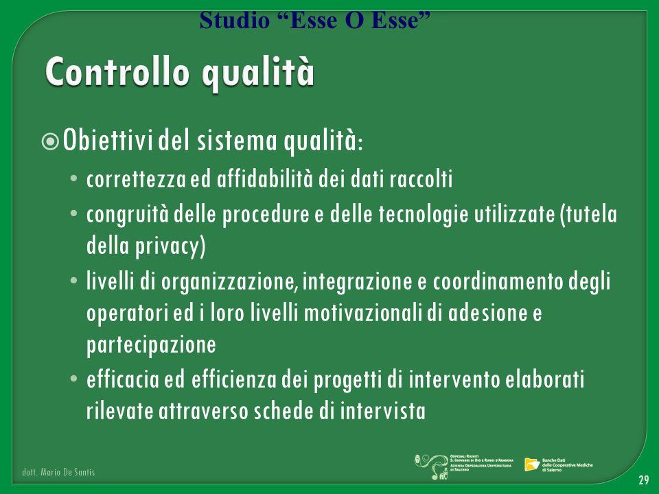 Controllo qualità Obiettivi del sistema qualità: