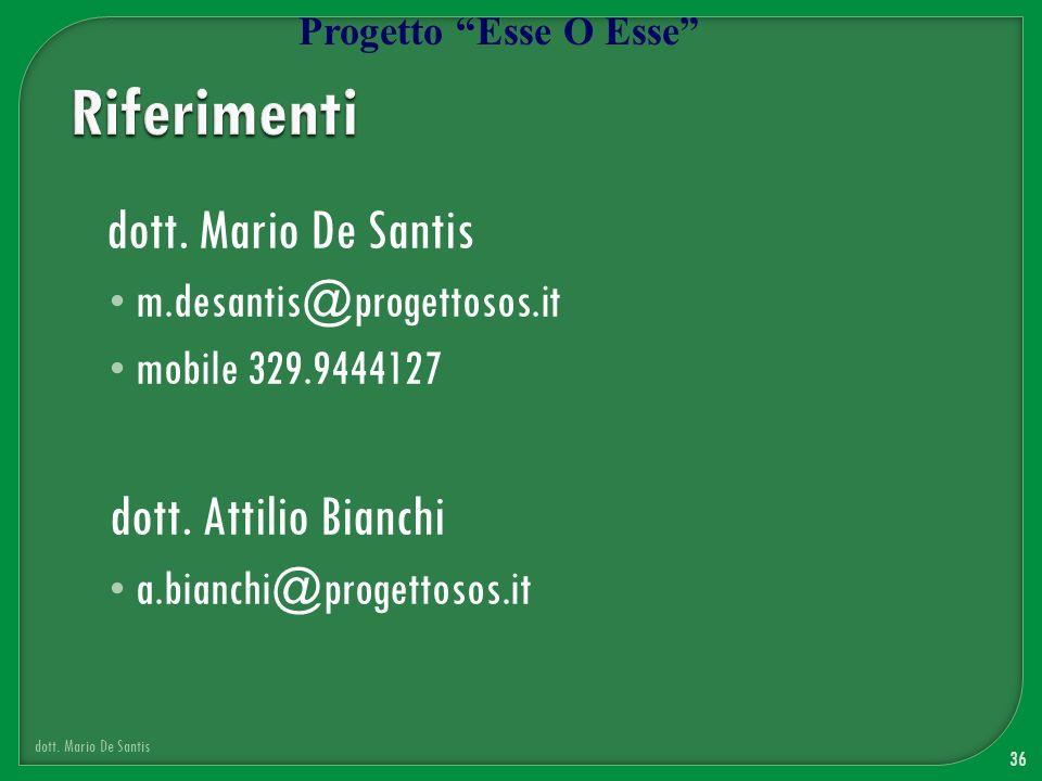 Riferimenti dott. Mario De Santis dott. Attilio Bianchi