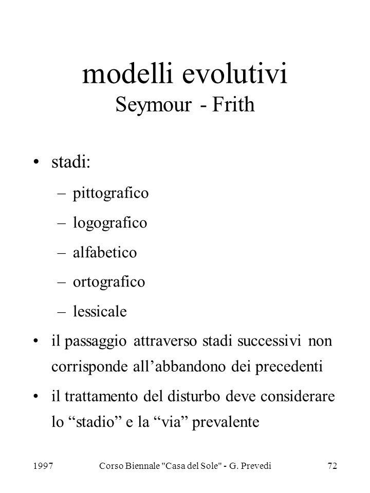 modelli evolutivi Seymour - Frith