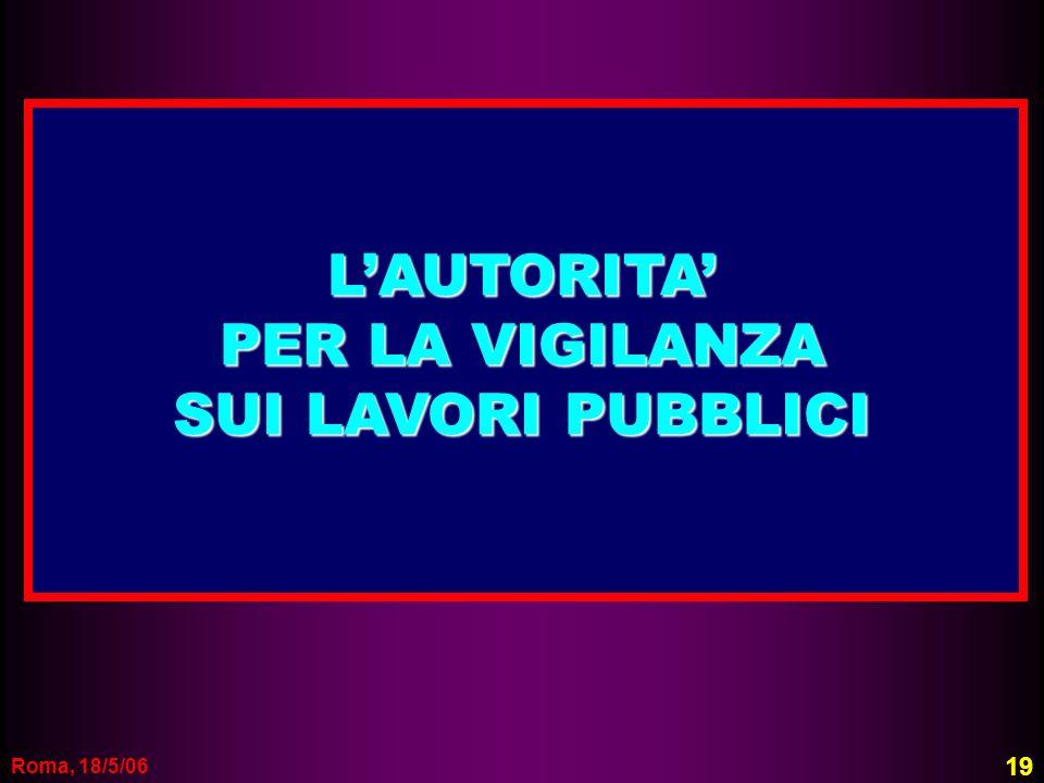 L'AUTORITA' PER LA VIGILANZA SUI LAVORI PUBBLICI Roma, 18/5/06 19