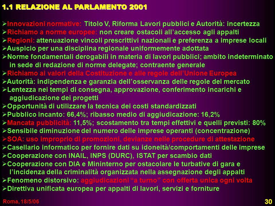 1.1 RELAZIONE AL PARLAMENTO 2001