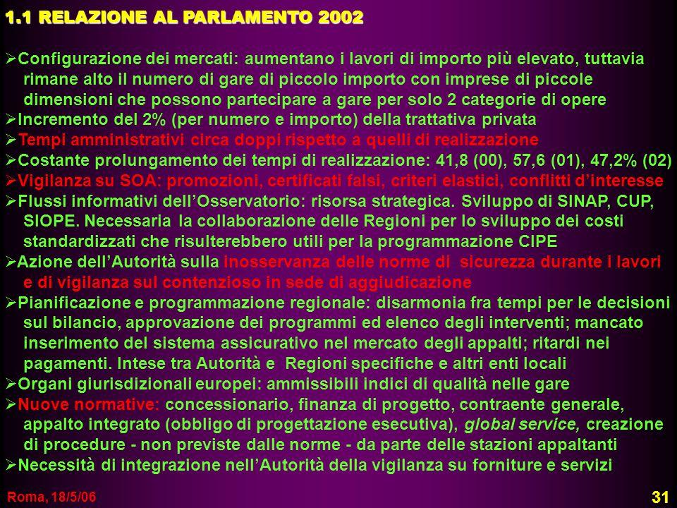 1.1 RELAZIONE AL PARLAMENTO 2002