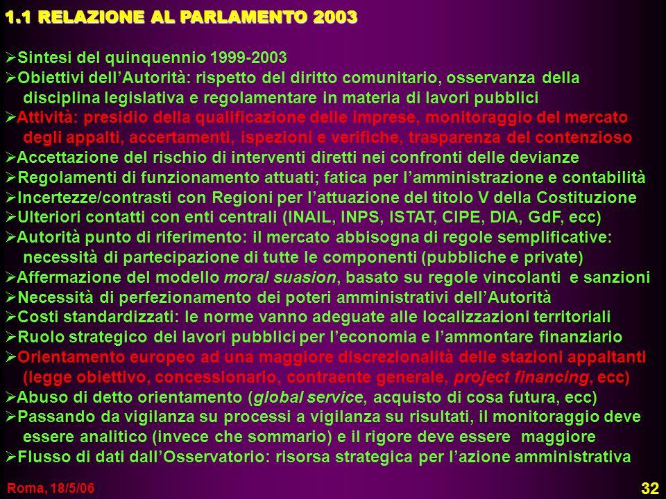 1.1 RELAZIONE AL PARLAMENTO 2003 Sintesi del quinquennio 1999-2003