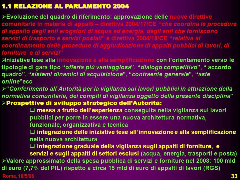 1.1 RELAZIONE AL PARLAMENTO 2004