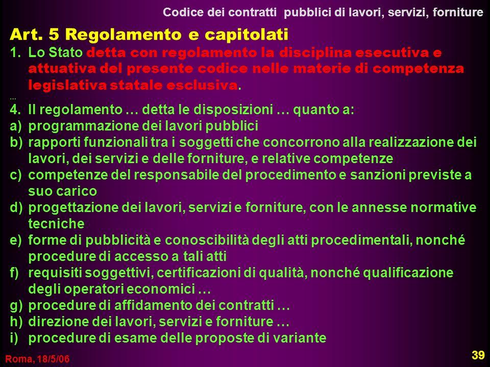 Art. 5 Regolamento e capitolati