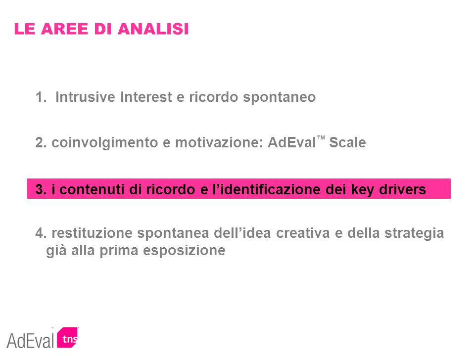 LE AREE DI ANALISI 1. Intrusive Interest e ricordo spontaneo
