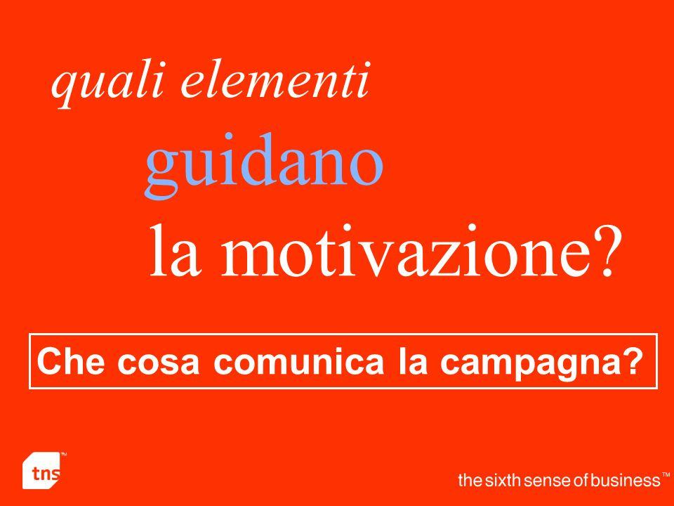 quali elementi guidano la motivazione Che cosa comunica la campagna