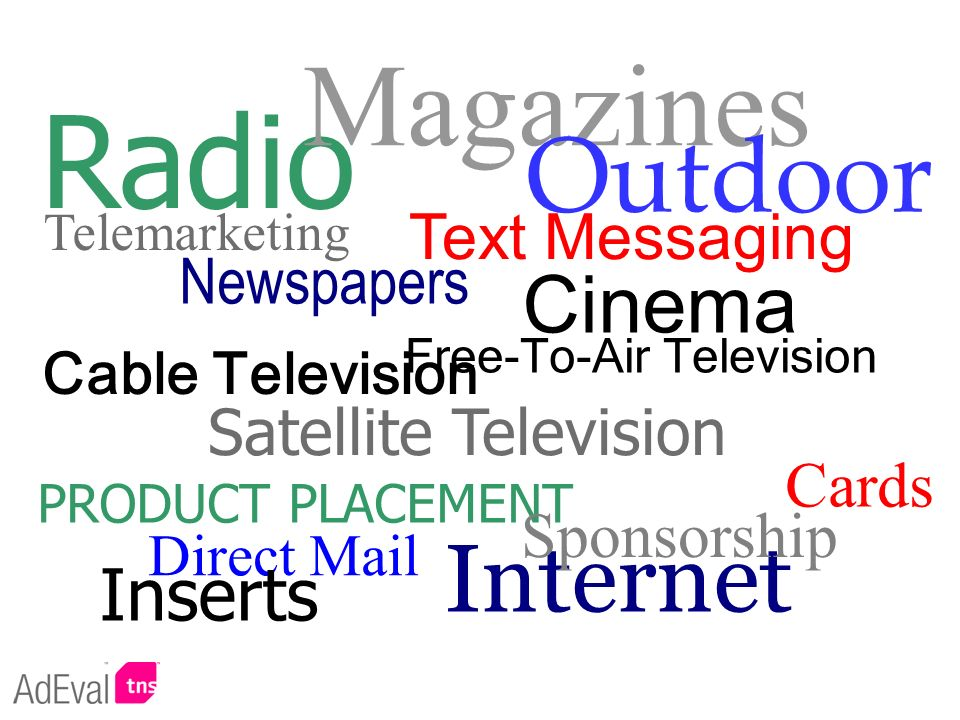 Radio Magazines Outdoor Internet Cinema Inserts Text Messaging