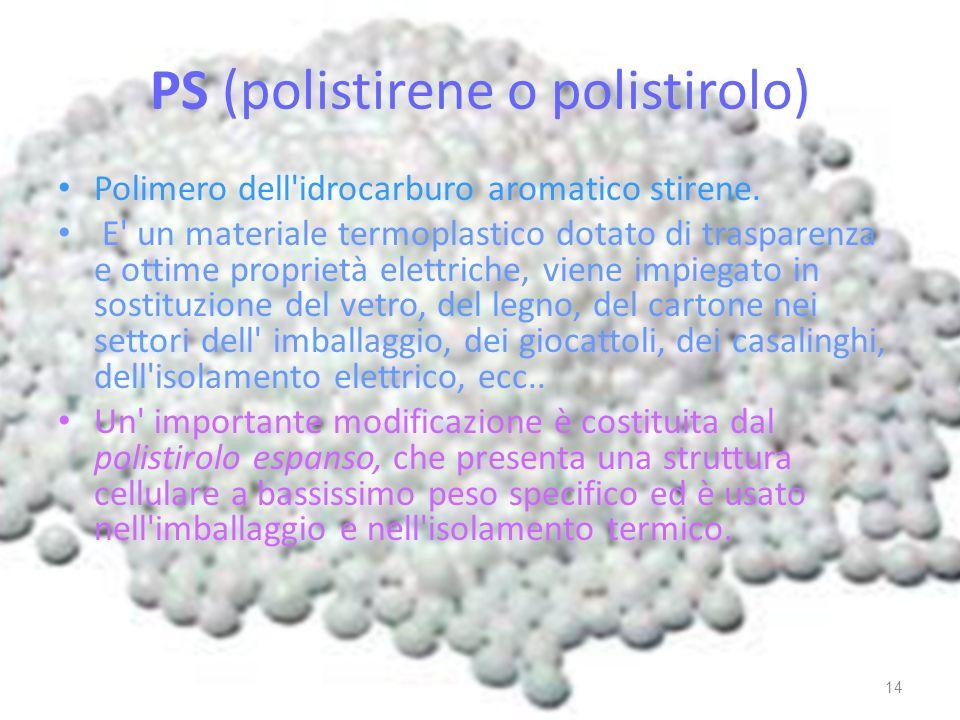 PS (polistirene o polistirolo)