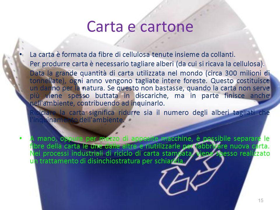 Carta e cartone La carta è formata da fibre di cellulosa tenute insieme da collanti.