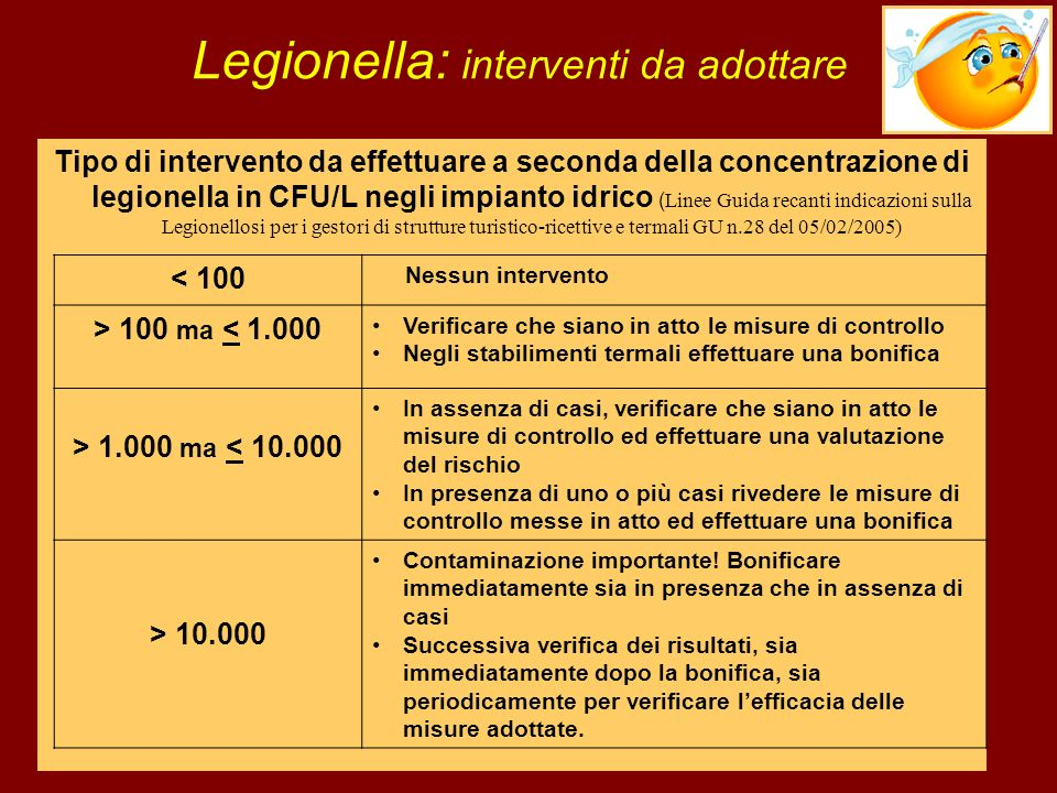 Legionella: interventi da adottare