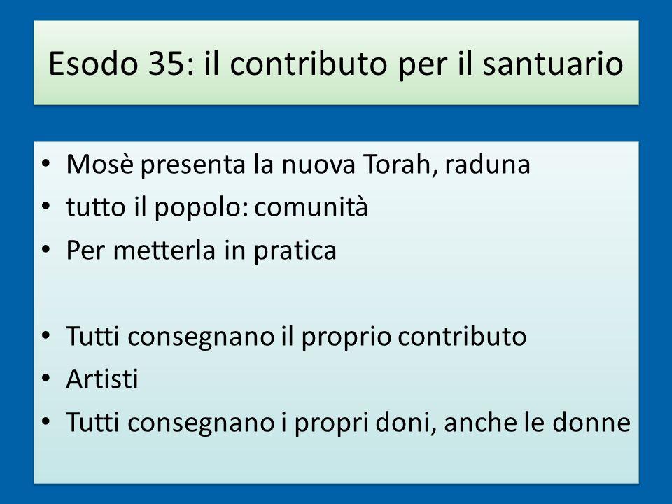 Esodo 35: il contributo per il santuario