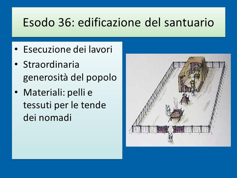 Esodo 36: edificazione del santuario