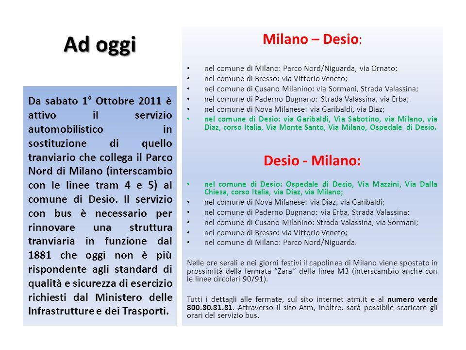Ad oggi Milano – Desio: Desio - Milano: