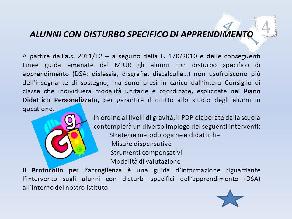 ALUNNI CON DISTURBO SPECIFICO DI APPRENDIMENTO