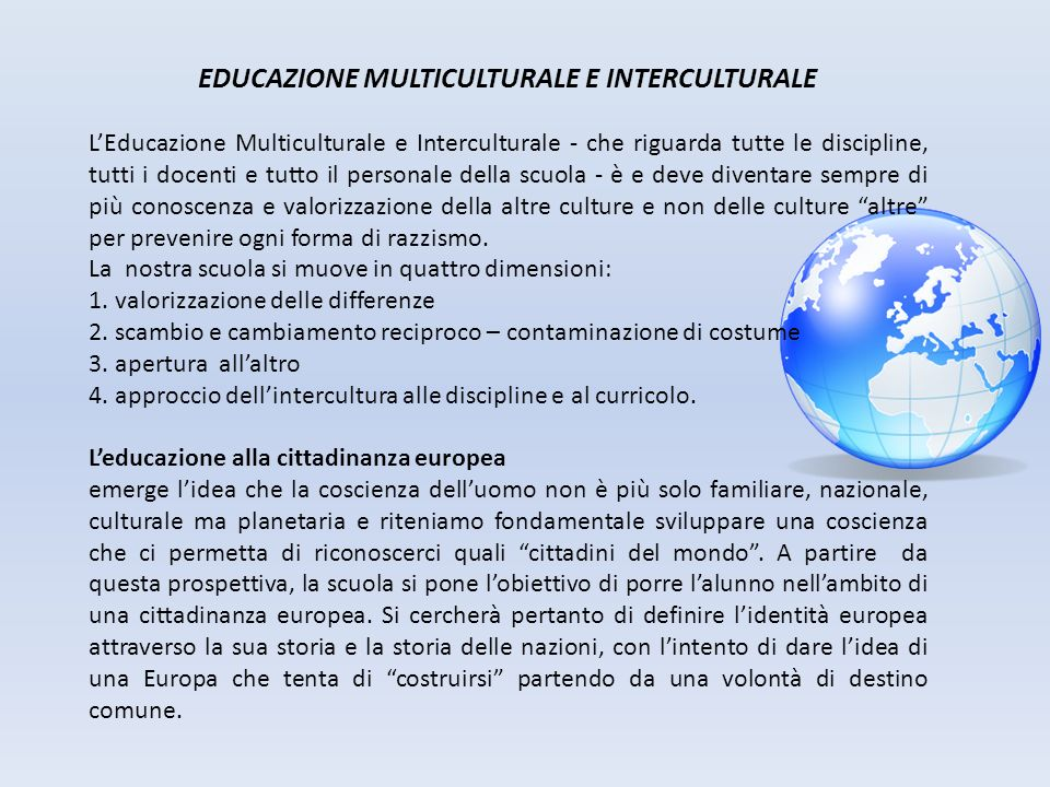 EDUCAZIONE MULTICULTURALE E INTERCULTURALE