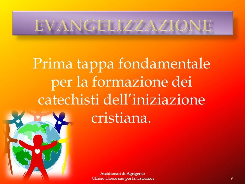 EVANGELIZZAZIONE Prima tappa fondamentale per la formazione dei catechisti dell'iniziazione cristiana.