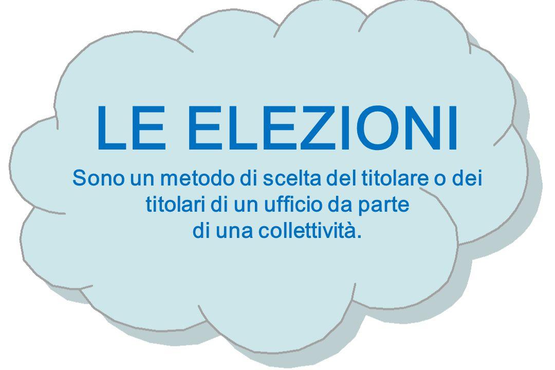 LE ELEZIONI Sono un metodo di scelta del titolare o dei titolari di un ufficio da parte di una collettività.