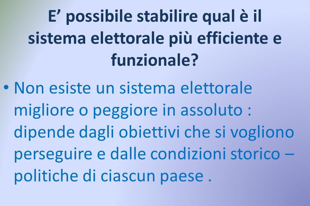 E' possibile stabilire qual è il sistema elettorale più efficiente e funzionale