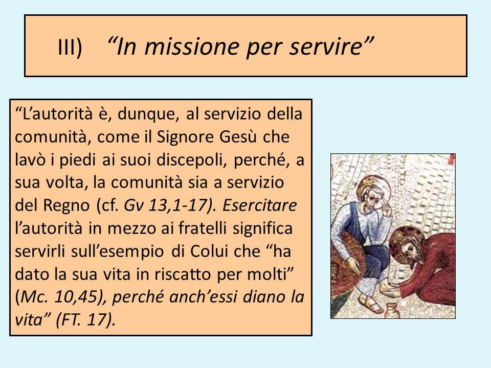 III) In missione per servire