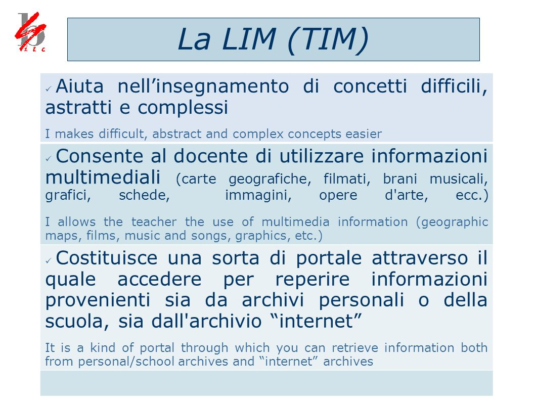 La LIM (TIM) Aiuta nell'insegnamento di concetti difficili, astratti e complessi. I makes difficult, abstract and complex concepts easier.