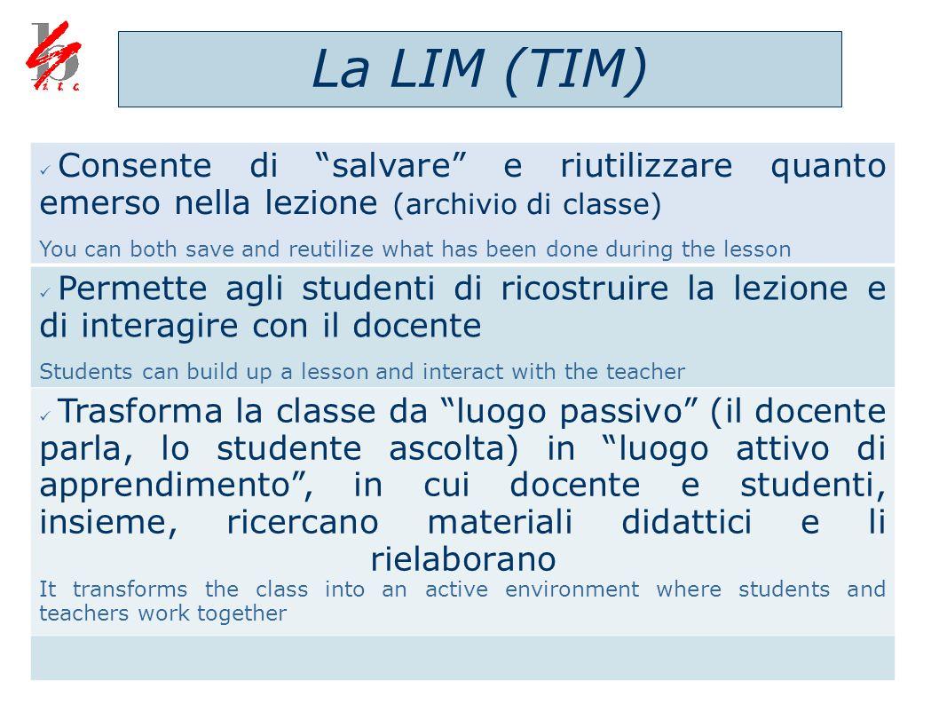 La LIM (TIM) Consente di salvare e riutilizzare quanto emerso nella lezione (archivio di classe)