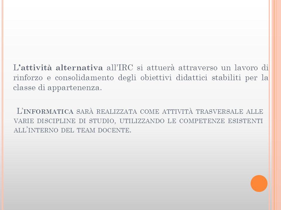 L'attività alternativa all'IRC si attuerà attraverso un lavoro di rinforzo e consolidamento degli obiettivi didattici stabiliti per la classe di appartenenza.