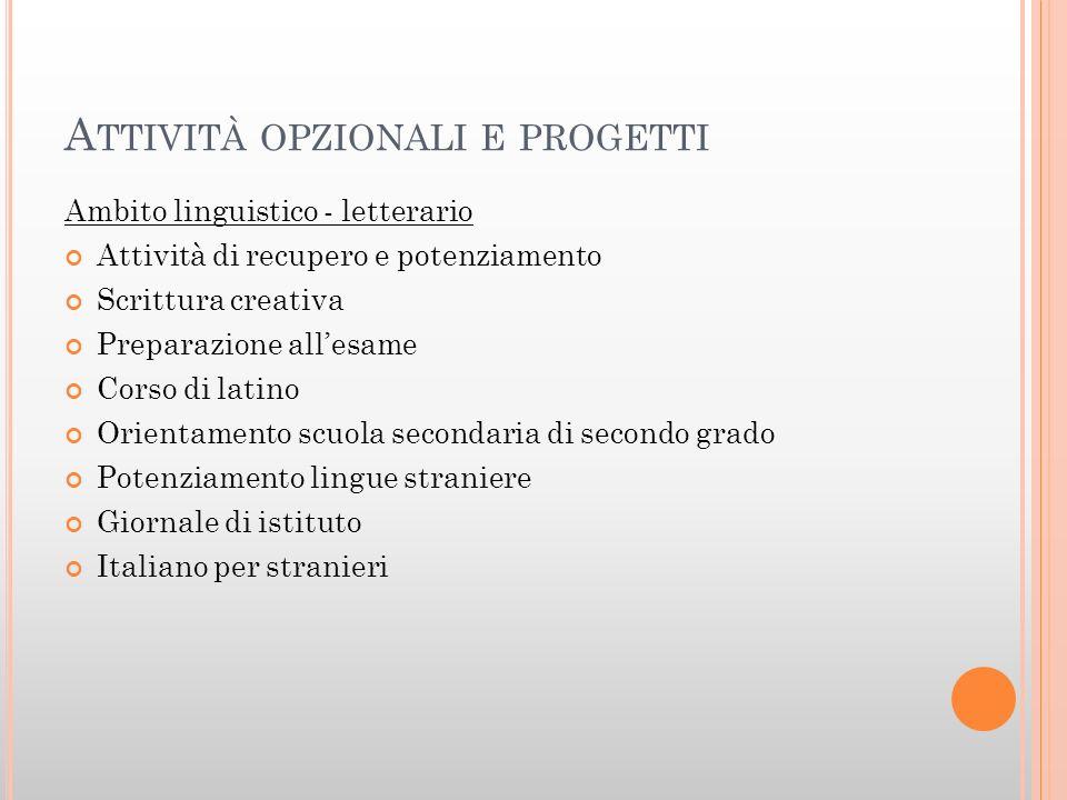 Attività opzionali e progetti